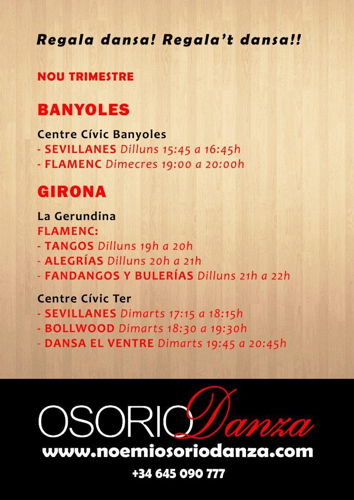 Horari Classes Dansa Banyoles Girona Osorio