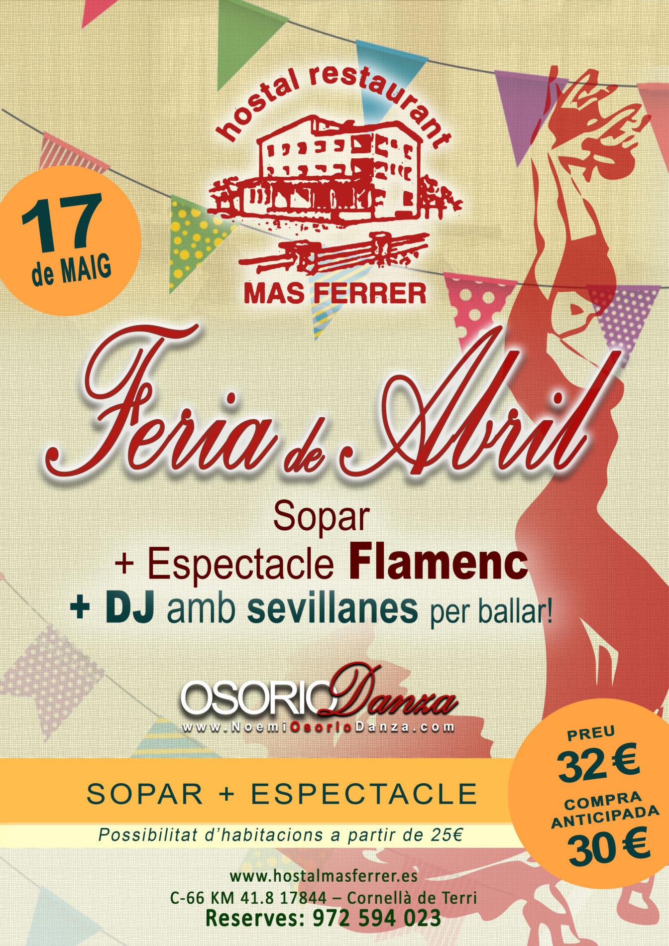 Feria de Abril Osorio Danza Cornella de Terri Girona Sevillanas Cena Espectáculo Flamenco 2019
